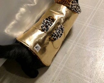 Small Dog Jacket - Small Dog Coat - Gold Dog Coat - Metalic Pet Jacket - 100% Wool Insulation - Small Pet Clothes