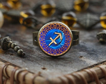 Sagittarius Zodiac ring, Sagittarius ring, Sagittarius Zodiac Jewelry, Sagittarius Zodiac Sign ring, Astrology ring