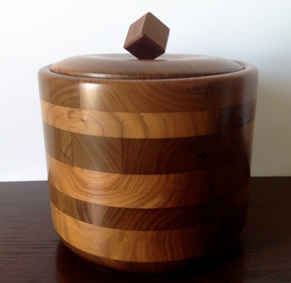 Vintage Walnut Wood Ice Bucket Glass Lined CubeSquare Knob