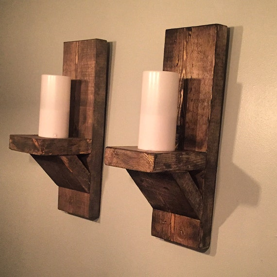 Rustic Candle Sconce Pair Wall Sconce Farmhouse