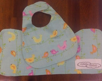 Burping cloth and bib - Flannelette and cotton, baby girl, pink birds