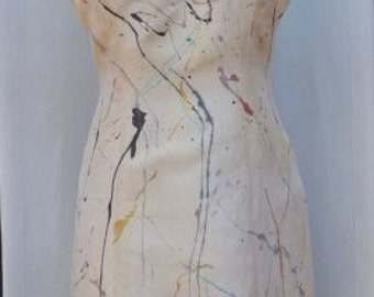 Hand Painted Vintage Dana Buchman Sleeveless Silk Dress Reworked by Banana Moon Size 6