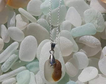 Seaglass Necklace seaglass bonfire Brown and white Necklace