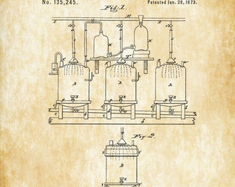 Beer and Ale Brewing Patent - Patent Print, Wall Decor, Bar Decor, Beer Patent, Beer Poster