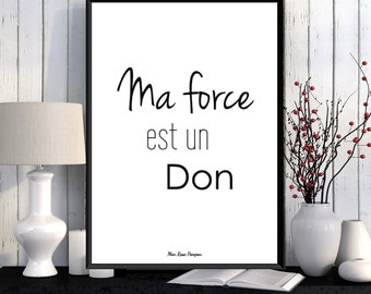 Motivational french quote poster, Motivational art, Positive poster, Digital typography, Printable wall poster, Positive quote, Motivation