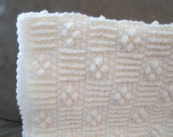 Crocheted Baby Afghan Cluster Diamond Cream
