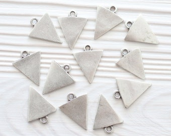 5pc silver triangle charm, earring charms, just dangles, mini metal charms, triangle, necklace charms, bracelet charms, flat charms, rustic