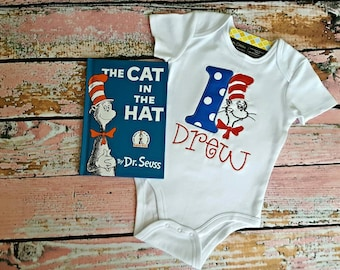 First (1st) Birthday Dr. Seuss inspired embroidered Onesie Bodysuit Shirt Cat in the Hat Royal Blue