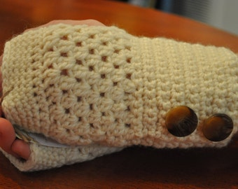 Beige Fingerless Gloves with Marble Buttons 15223