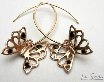 Butterflies <>I <>earrings - lace of gilded bronze & Black zircon