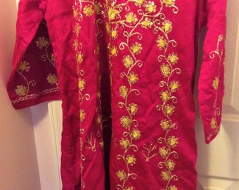 Funky Pink Sari-Style Frock, with Gold Threading/Sequins