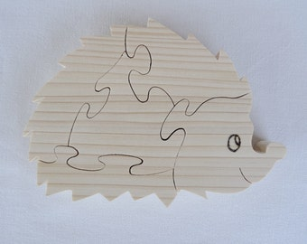 "wooden puzzle ""hedgehog"" in natural pine cut on scroll saw"