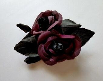 Vintage Millinery flowers. ROSE. Hat trim. Flower spray. - vintage rose - dark rose - millinery rose - purple rose - plum rose - bud rose -