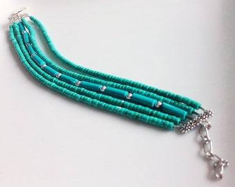 Multi Strands Heishi Turquoise Bracelet,Turquoise Jewelry,Beaded Bracelet, Turquoise Bracelet silver,Heishi Turquoise Bracelet,
