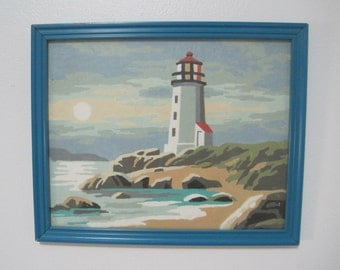 """Seascape with Lighthouse on Rocky Point, Paint-By-Number, 8.5"""" x 10.5"""", Vintage, Mid Century"""