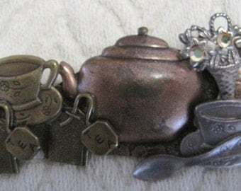 Tea Time Collage Brooch, Vintage, Mixed Metals