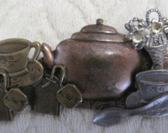 Collage Brooch, Tea Time, Mixed Metals, 2.5 x 1.25 inches, Vintage