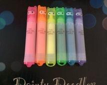 Kawaii Mini Rainbow Highlighters / Set of 6 / Stationery (Pink / Orange / Yellow / Green / Blue / Purple) / Office / Work / School / Kids