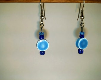 Bead Earrings - Handmade Blue with Faded round charm