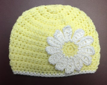 Yellow Baby Hat with Daisy Flower