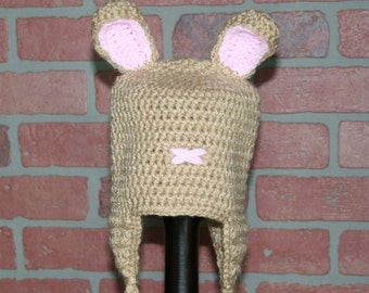 Little Tan Bunny Crocheted Hat - FREE SHIPPING