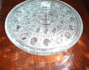 Candy Dish Glass Candy Dish Lidded Glass Dish Pressed Glass Candy Dish
