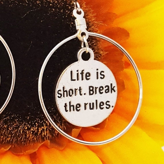 Word Quote Earrings, Life is Short Break the Rules Charm, Sports Charms Jewelry, Motivational Jewelry, CrossFit Jewelry, CrossFit Coach Gift