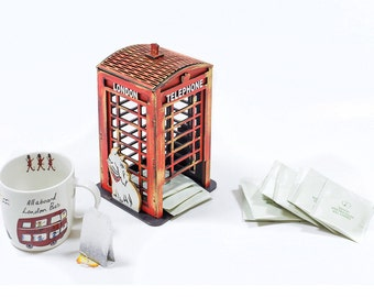 London telephone booth - hand painted tea house, afternoon tea party table decoration