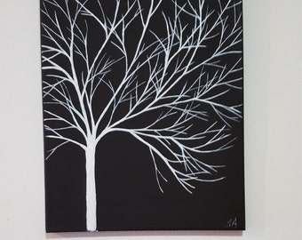 Black and white hand painted tree for any room