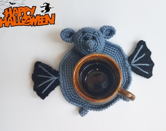 Crochet coaster crochet bat Amigurumi knitted coaster Halloween decor Home decorations Kitchen Accessories drink handmade coasters