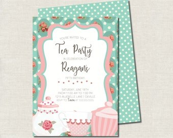 Printable Vintage Teal Tea Party Girl's Birthday Party Invitation
