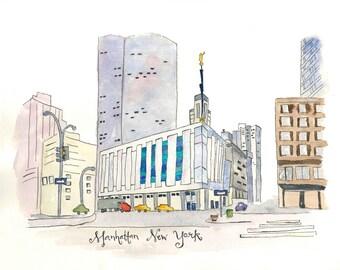 Manhattan New York Temple-Watercolor