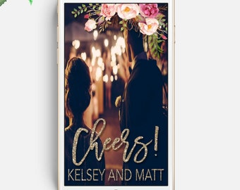 Wedding Snapchat GeoFilter, Wedding Geofilter, Floral Filter, White and Floral, Custom Snapchat Filter, Gold Glitter Filter, Reception