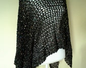 Handmade Black Payette Lacy Poncho Shrug Asymmetrical Topper Throw style
