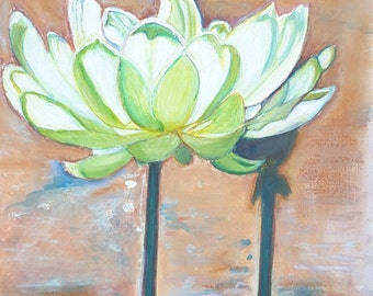 """White lotus flowers, original painting, OOAK, one of a kind- mixed media on canvas paper - """"Lotus"""" - 24x32 cm./9,5x12,6 inc..Wall art,lounge"""