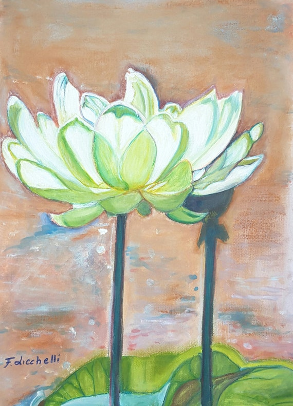 "White lotus flowers, original painting, OOAK, one of a kind- mixed media on canvas paper - ""Lotus"" - 24x32 cm./9,5x12,6 inc..Wall art,lounge"