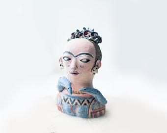 Frida Ceramic Sculpture - Ceramic Statue - Clay Sculptures - Ceramic Pottery - Clay Art - Home Decor - Sculpting Clay - Pottery Art