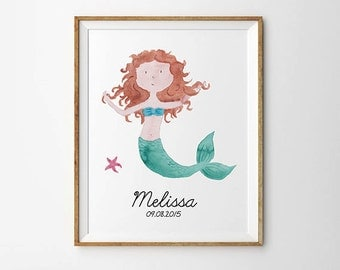 Personalized name, Mermaid nursery print, Personalized nursery art,  Custom name, Baby print, Nursery wall decor, Baby gift, Printable art