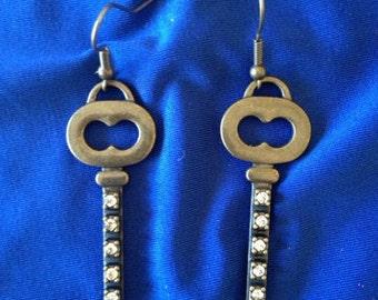 Bronze Key Earrings-Silver Rhinestone- Klippel Feil-KFSTRONG-Awarness