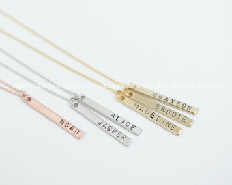 Mother's Day Mommy Necklace, Baby Name Vertical Bar Necklace, Personalized Bar Necklace, Mom Grandma Kids Name Necklace, Gift Idea 086-1