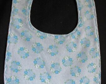 Bib - Blue Flower Flannel Bib with Snap Fastener
