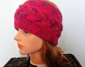 Women's Vibrant Pink Cabled Ear Warmer