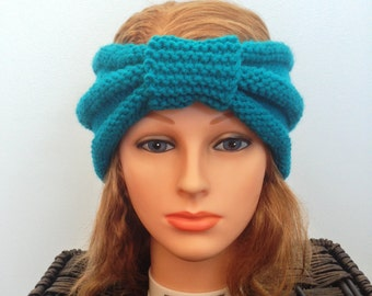 Women's Hand Knitted Blue Ear Warmer
