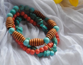 Coral Turquoise Layered Bracelet