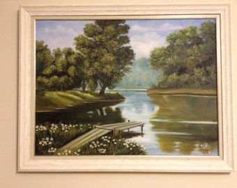 River view oil painting
