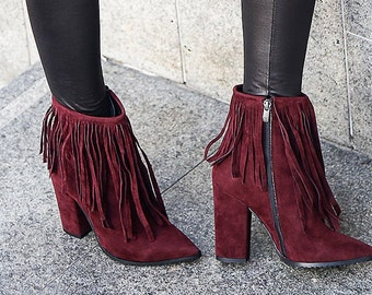 Crimson Fringe High Heel Booties, Pointy Women Booties, Boots, Ankle Boots