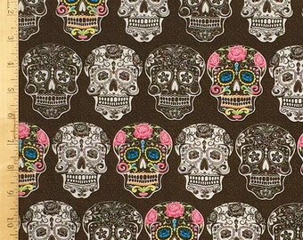 Sugar Skull Fabric, The Day of the Dead Fabric, Dia De Los Muertos Sugar Skulls Print Fabric, 100% Cotton Fabric by the Yard
