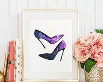 Heels illustration, hand painted, watercolor printable, wall art decor print, galaxy pattern, print for girls, girl home decor, download