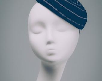 Ruth, Black and purple romantic fascinator, Cute mini hat