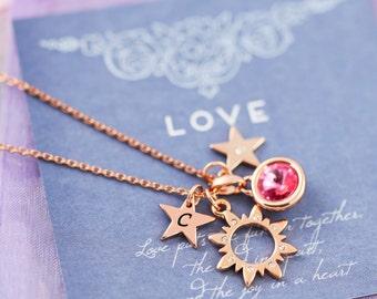 Rose Gold Charm Necklace | Rose Gold Jewellery | Rose Gold Cluster Necklace | Personalised Rose Gold Necklace | FREE UK Shipping | Charm UK